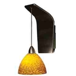 WAC Lighting - Faberg Contemporary Collection Wall Sconce - Amber Shade - Brushed Nickel - WS72LED-G541AMBN