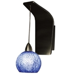 WAC Lighting - Rhea European Collection Wall Sconce - Blue Shade - Rubbed Bronze - WS72LED-G599BLRB