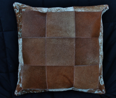 Brown Natural Cow Hide Pillow 18x18 MH25400