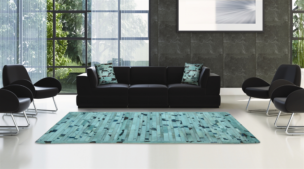 Turquoise Cow Hide Rug MH257