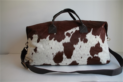 Brown/White Cow Hide Weekend Duffel - Lg