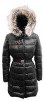 Belted Coat with Fur Trimmed Hood