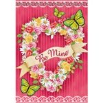 Floral Heart Wreath House Flag