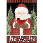 Plaid Santa Standard House Flag