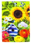 Sunflower Birdhouse Decorative House Flag
