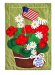 Patriotic Basket of Flowers Linen House Flag