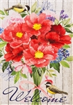 Peonies Bouquet Decorative House Flag