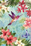 Tropical Flowers and Hummingbird Decorative Garden Flag