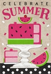 Celebrate Summer Watermelon Burlap Garden Flag