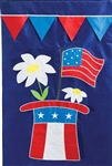 Patriotic Hat Applique Garden Flag