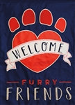 Welcome Furry Friends Applique Garden Flag