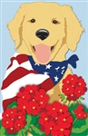 Patriotic Pup Applique Garden Flag