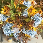 Blue Hydrangea & Sunflower Wreath (Limited Edition)
