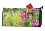 Wren with Purple Clematis MailWraps Mailbox Cover