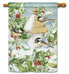 Chickadee Welcome  BreezeArt Standard House Flag