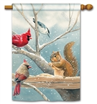 Winter Snack Time BreezeArt Standard House Flag
