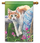 Kitty Cool Down BreezeArt Standard House Flag
