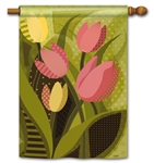 Tulips On Green BreezeArt Decorative House Flag
