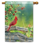 Cardinal Lookout BreezeArt Standard House Flag