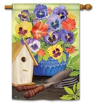 Pretty Pansy and Birdhouse BreezeArt Standard House Flag