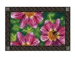Pink Flower with Bee MatMates Decorative Doormat