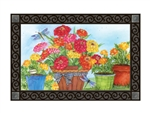 Marigolds and Zinnias MatMates Decorative Doormat