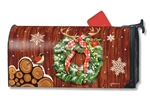 Cozy  Cabin Wreath Large MailWraps Magnetic Mailbox Cover