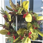 Asheville Magnolia, Pine Cones & Red Berries Wreath