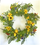 Black Eyed Susan and Violets Wreath