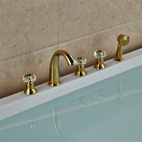 Gold Widespread 5PCS Bathroom Tub Faucet Three Handles with Brass ...