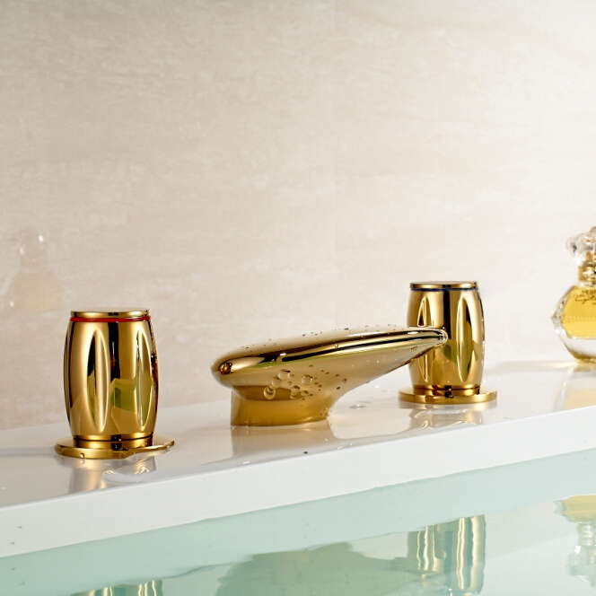 Waterfall Bathroom Basin Sink Gold Finish Dual Round Handle Bathroom ...