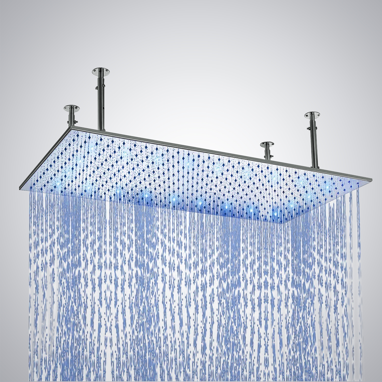 Ceiling Mount Stainless Steel LED Rain Shower Head