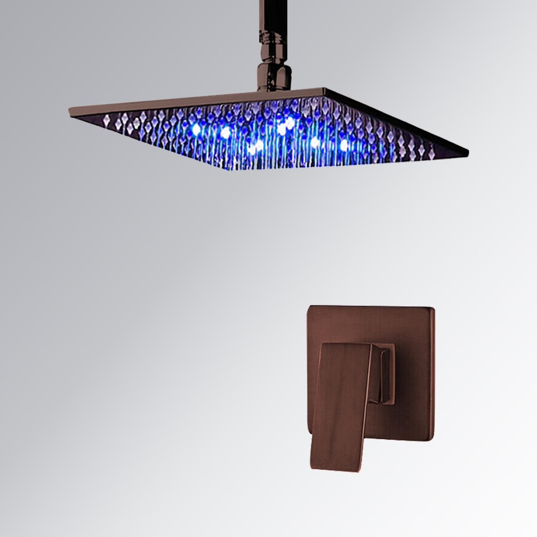 oil rubbed bronze led rain shower head. Fontana Oil Rubbed Bronze Square LED Rain Shower Head