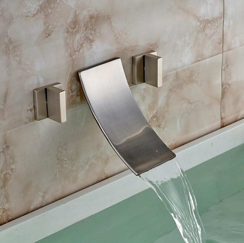 Double Handled Brushed Nickel Wall Mounted Bathtub Faucet