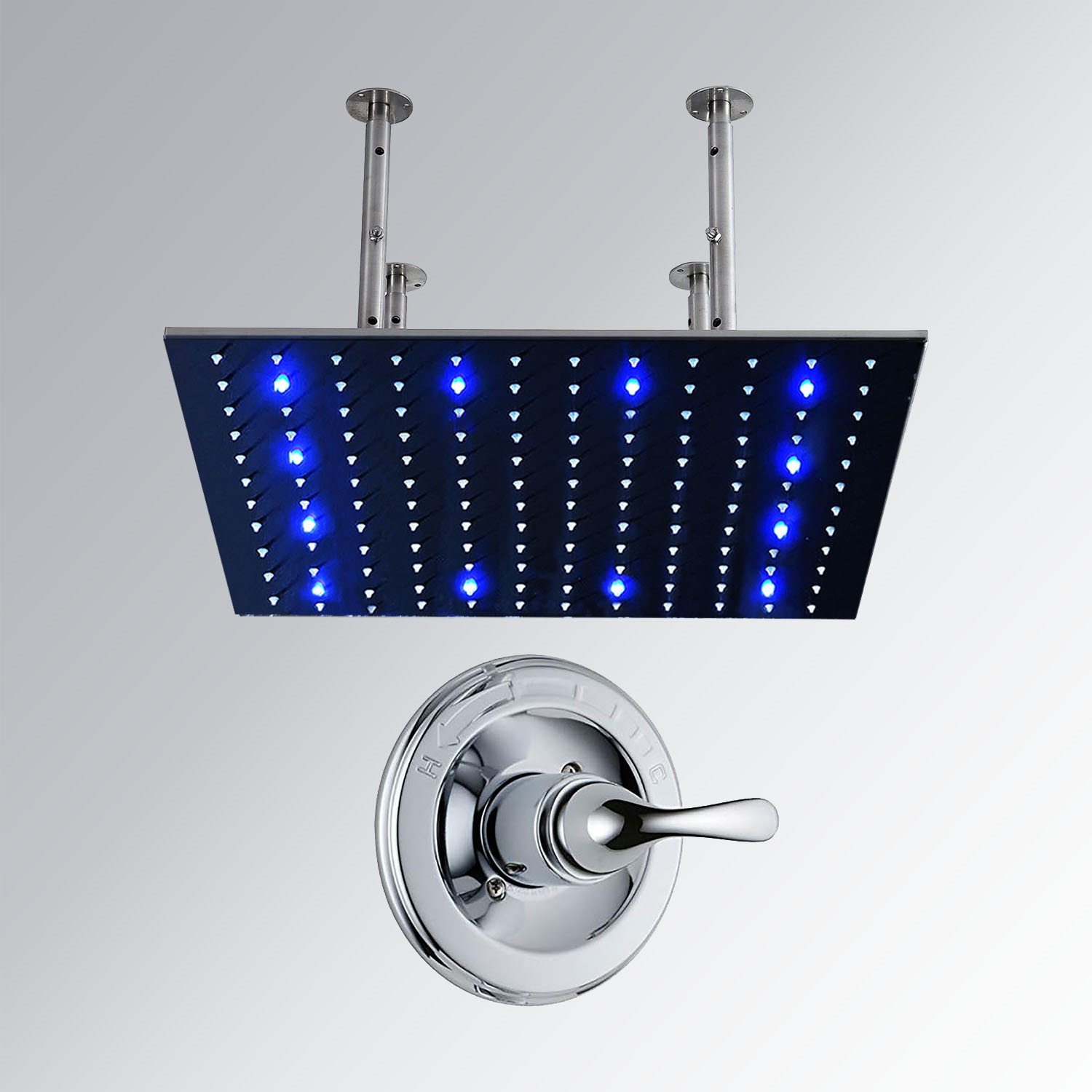 40 Quot Stainless Steel Square Color Changing Led Rain Shower Head With Built In Mixer