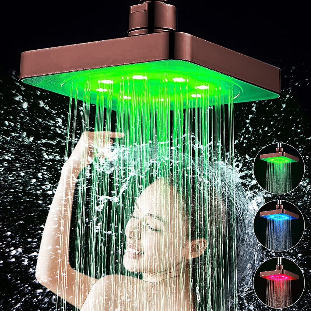 10 Quot Oil Rubbed Bronze Square Led Rain Shower Head