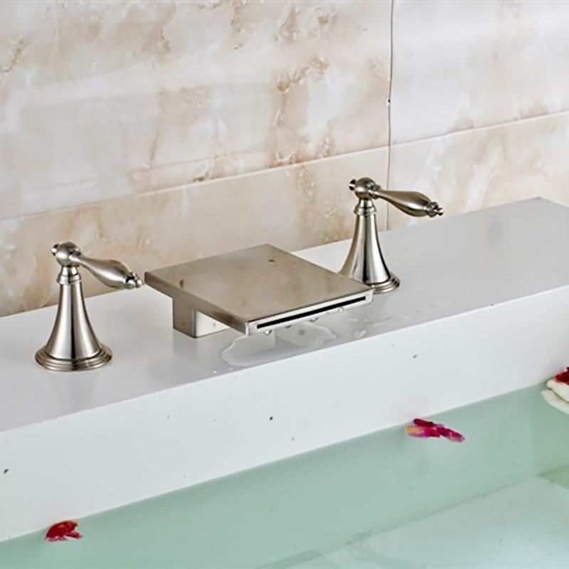 Long Dual Handle Bathroom Sink Waterfall Faucet