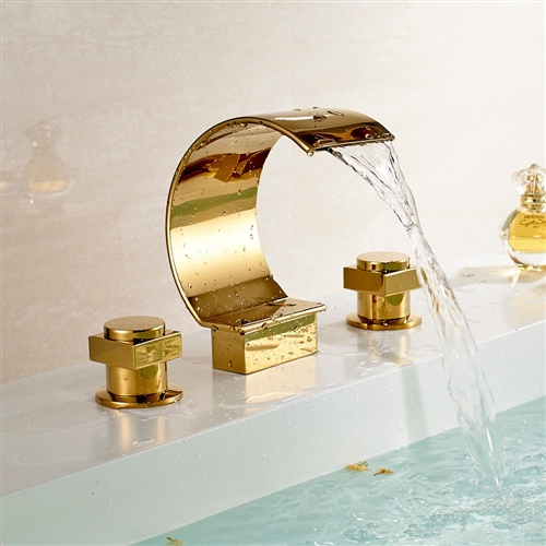 Solid brass gold chrome finish bathroom sink faucet for Gold and chrome bathroom faucets
