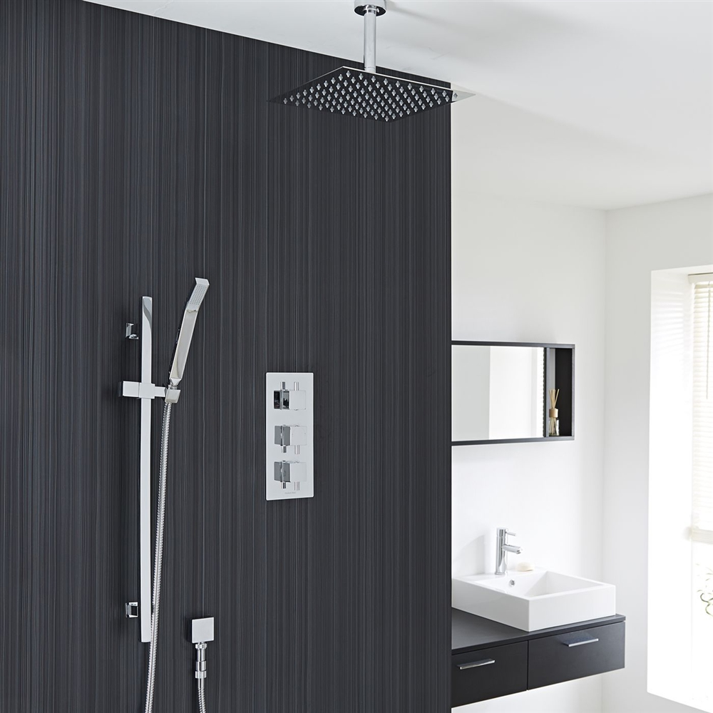 12 Chrome Finish Ceiling Mount Square Rain Shower System
