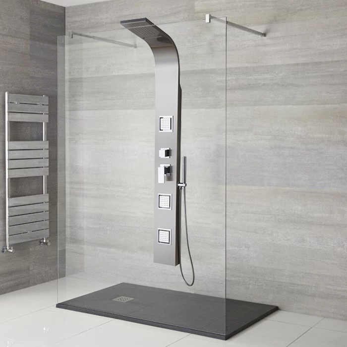 Awesome Lenox Stainless Steel Rainfall Waterfall Shower Panel With Pulsating  Massage Body Sprays  Also Available In
