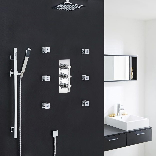 Good Chrome Finish Ceiling Mount Shower Head Set With 6 Body Massage Shower Jets