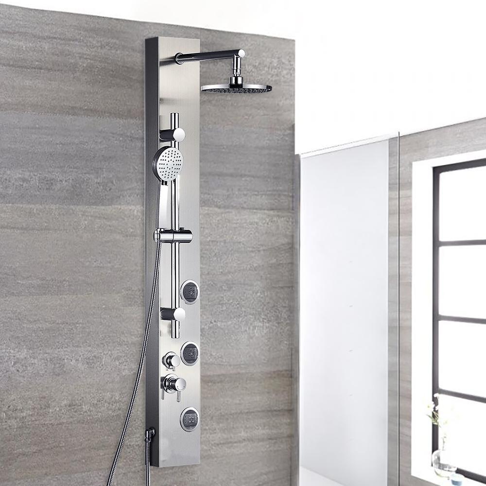 full body shower massage panel with rain shower head