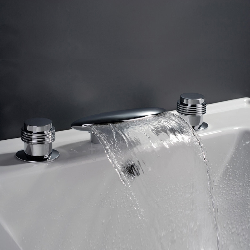 Waterfall bathtub mixer faucet for Fountain faucets for the bathroom