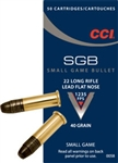 CCI SGB Small Game Rimfire Ammunition 0058, 22 Long Rifle, Flat Point, 40 GR, 1235 fps, 50 Rd/bx