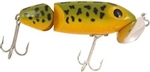 "ARBOGAST JOINTED JITTERBUG TOPWATER LURE 3.5"" 5/8 OZ FROG/YELLOW BELLY G670-07"