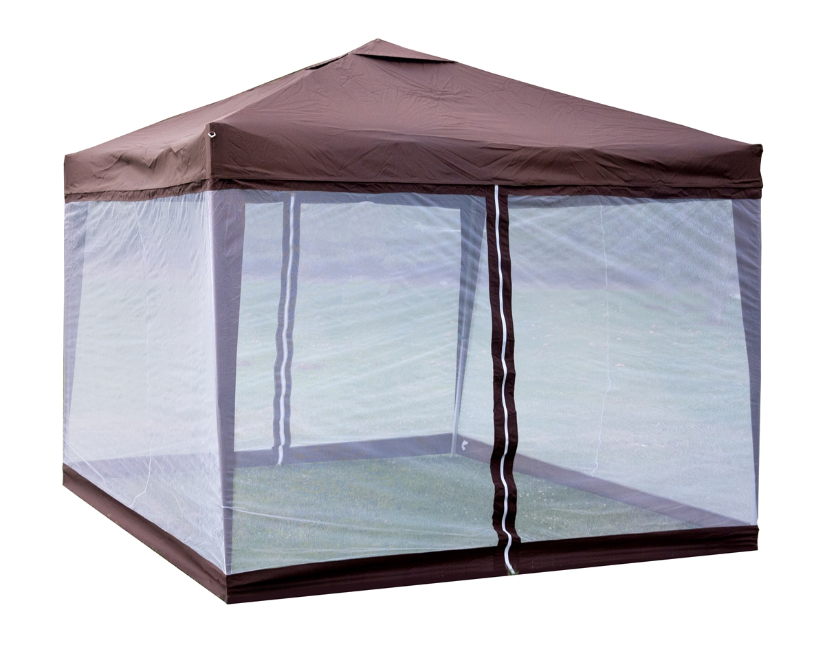 Trademark Innovations Lightweight U0026 Portable 10u0027x10u0027 Canopy Tent With 4  Mesh Screen Sides