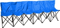 Trademark Innovations Blue Sideline Collapsible Bench 6 Person Seater with Back