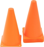 "9"" Plastic Cone -6 pack Orange Sports Training Gear by Coach's Closet"