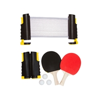Anywhere Table Tennis Set with Paddles Balls by Trademark Innovations (Yellow)