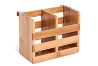 Bamboo Flatware Organizer Holder with Metal Clips by Trademark Innovations
